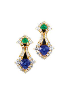 Marina B 18k yellow gold, sapphire, emerald, and diamond earrings