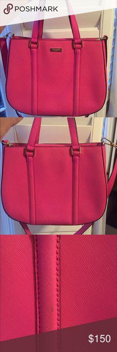 Bright pink Kate spade handbag Bright pink bag. Small spot on the back of the bag. kate spade Bags Totes