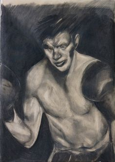 """""""The boxer"""" by Ezequiel Rosenfeldt (2013 charcoal on paper 70 x 100 cm) @riccilastiri Be Smart By Art"""