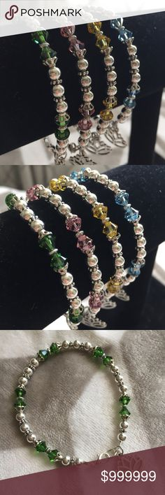 "✨NEW✨ Swarovski Crystal Bracelet GORGEOUS Handmade 7.5"" Bracelet - Swarovski Crystals - Silver Plated Beads - Lotus Flower Charm - Lobster Claw Closure  Available with yellow, pink, aquamarine or green Swarovski Crystals.  1 for $15 OR 2 for $25 Jewelry"