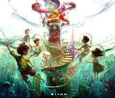 waterworld by henryz on DeviantArt Drawn Art, Entertainment Logo, Fun Illustration, Environment Design, Cool Artwork, Comic Art, Book Art, Concept Art, Digital Art