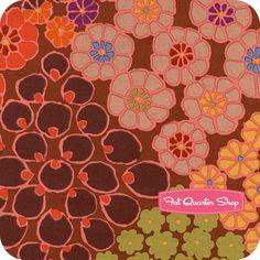 Kaffe Fassett Collective Brown Tile Flowers Yardage SKU# PWGP125-BROWN - Fat Quarter Shop