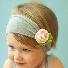Baby Kinder Stirnband Rose Blume Blüte Haarband Mädchen Haarschmuck rosa grau