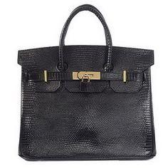 ab9b392f62b9 Wholesale Réplique Hermes Birkin 30CM sacs fourre-tout en cuir lézard noir  d or - €288.32   réplique sac a main, sac a main pas cher, sac de marque    sac ...
