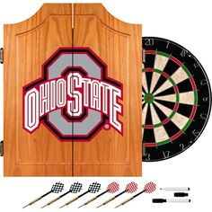 Ohio State University Dart Cabinet Includes Darts and Board