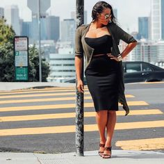 #ootd @_beyondherreality_ is city chic in our Kelis Sheer Cardigan + Black Fitted Pencil Skirt #bloggerswelove #falltrends #shopthelook