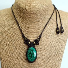 Beautiful handmade fancy macrame necklace pendant, we usingMalachite Stone with Brass Beads was handwoven with macrame techniques. also known as micro macrame with great quality Cotton waxed cord from Thailand . | eBay!
