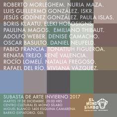 No se pierdan esta subasta de arte invierno 2017 el martes 19 de diciembre a las 20:00 horas en el Centro Cultural el Mono Sílabo.  ¡Ésta navidad regala arte!🎄