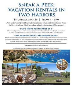 Two Harbors Casas Open House - Thursday 5.26.16. Two Harbors, Open House, Paths, Thursday, Condo, Island, Vacation, Santa Cruz, Vacations