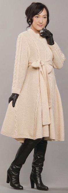 описание вязаного пальто для женщин