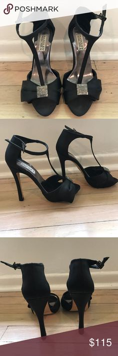 Badgley Mischka black satin heels Gorgeous formal black satin Badgley Mischka heals with front crystal details. Worn once. Great condition. Very classy and timeless! Unfortunately it was too big for me :( Badgley Mischka Shoes Heels
