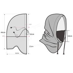 Free pattern for sewing a balaclava Dress Sewing Patterns, Clothing Patterns, Crochet Patterns, Sewing Hacks, Sewing Crafts, Sewing Projects, Techniques Couture, Sewing Techniques, Sewing Clothes