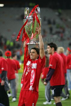 ISTANBUL, TURKEY - WEDNESDAY, MAY 25th, 2005: Liverpool Milan Baros celebrates winning the European Cup after beating AC Milan on penalties ...