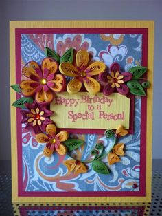 "Handmade Paper Quilling Red Yellow Greeting Card ""Happy Birthday to a Special Person"" with Flowers (Friend, Birthday,Mother, Sister) by FromQuillingWithLove"