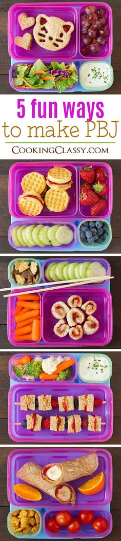 Fun Ways to Make a PBJ - my kids thought these were so fun! Perfect for school lunch ideas.Five Fun Ways to Make a PBJ - my kids thought these were so fun! Perfect for school lunch ideas. Lunch Snacks, Healthy Snacks, Kid Snacks, Baby Food Recipes, Snack Recipes, Toddler Lunches, Toddler Food, Kid Lunches, Pre School Lunches