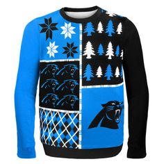 Carolina Panthers NFL Ugly Sweater Busy Block available at uglyteams.com. Check out uglyteams.com for other merchandise and accessories! #Carolina #Panthers