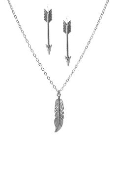 Feathered Arrow Earrings & Necklace Set