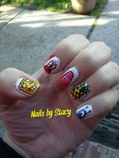 SpongeBob, Mr.  Krabs, Patrick,  pineapple, and Plankton nail art. @stacystancati