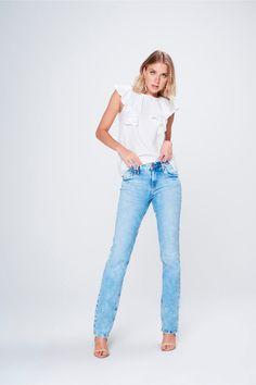 Calça Jeans Reta Feminina - Damyller-smartphone f85c9fbbdc8