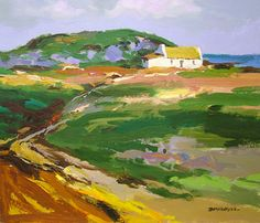 Donald McIntyre Lone Cottage Irish Landscape, Abstract Landscape, Seascape Paintings, Landscape Paintings, Painting Gallery, Art Gallery, Building Art, Environment Concept Art, Country Art