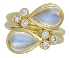 18K Single Mummy Ring in Royal Blue Moonstone & Diamonds - Temple St. Clair