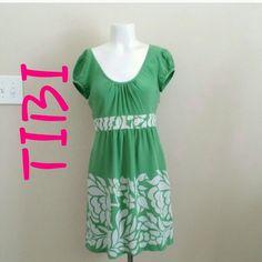 TIBI green summer  dress TOBI green and white dress.  Size 2 Tibi Dresses