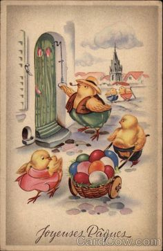 Joyeuses Paques - Vintage Postcard Chickens Easter Eggs