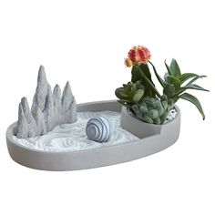 Oval Zen Cement Plate with Planter. This is a container and planter for a miniature Zen garden or a fairy garden from Georgetown Home & Garden. Garden Planters, Planter Pots, Miniature Zen Garden, Plant Holders, Cement, Container, Miniatures, Gift Wrapping, Pottery