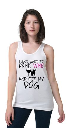 NEW S-2XL WOMENS DRINK WINE PET MY DOG LOVER SEXY CUTE FUNNY WORKOUT TANK TSHIRT #KimFitFab #ShirtsTops