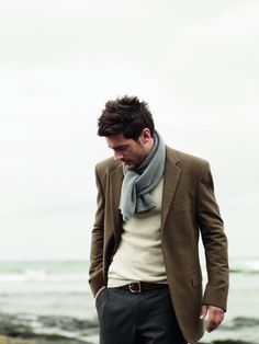 I love when men can pull of scarves whilst looking masculine. It only works right when the masculinity is played up, of course as a gentleman, but I love this look.