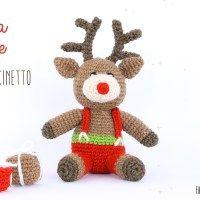 Un renna di Natale amigurumi a uncinetto - schema punti in italiano.
