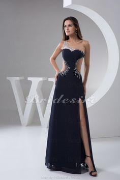 Bridesire - A-Linie 1-Schulter bodenlang ärmellos Chiffon Kleid [BD4918] - €96.13 : Bridesire
