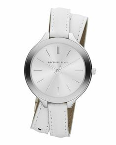 Michael Kors Slim Silver Color Double-Wrap Stainless Steel/Leather Runway Watch.  Kind of love this