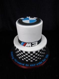 bmw cake, two tier fondant cake, grooms cake