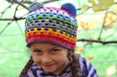 Gorgeous rainbow beanie from Foxes Lane - link to a tute too.