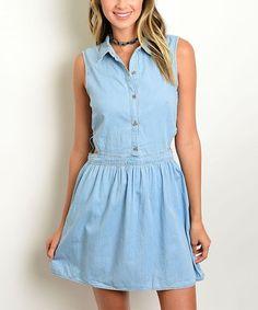 Light Blue Denim Button-Up Dress