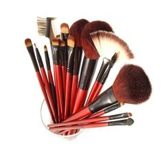 The SHANY Professional 13-Piece Cosmetic Brush Set with Pouch (Set of 12 Brushes and 1 Pouch, Red) provides a complete assortment of brushes for makeup applications. Made from a combination of natural animal hair and synthetic hair, the set includes 12 key brushes that are soft and silky to the touch. Animal hair brushes apply makeup evenly and are easy to clean. For convenient storage and portability, the brushes come with a handy organizer pouch.