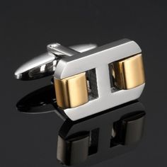 Stunning Silver Gold Stainless Steel Men's Cufflinks