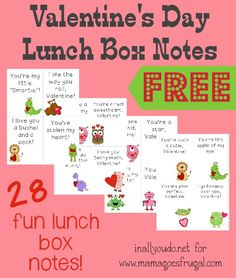 Show your kids how much you LOVE them on Valentine's Day with these fun Lunch Box Notes!! 28 cards FREE!! :: www.mamagoesfrugal.com