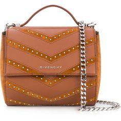 Givenchy Pandora Box studded bag (€1.975) via Polyvore featuring bags, handbags, shoulder bags, brown, givenchy shoulder bag, givenchy, givenchy handbags und givenchy purse