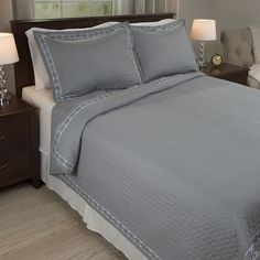 Portsmouth Home Valencia Embroidered Quilt Set, Grey