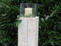 Säule mit Glasaufsatz 30x30x100VintageLook Bauholz