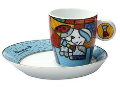 Goebel Romero Britto Ginger Dog Porcelain Expresso Cup & Saucer Set New & Boxed Cappuccino Cups, Camera Photography, Cup And Saucer Set, Holiday Travel, Pet Supplies, Espresso, Pots, Health And Beauty, Porcelain