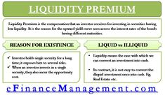 Liquidity premium is the compensation that an investor demands for investing in securities having low liquidity because these securities carriy higher risk. Budgeting Finances, Budgeting Tips, Money Management, Project Management, Stock News, Accounting And Finance, Financial Peace, Extreme Couponing