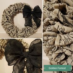 Paris Print Wreath with Bow Homemade Wreaths, Burlap Wreath, Monogram, Bows, Paris, Flowers, Arches, Floral, Burlap Garland