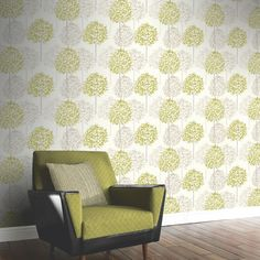Arthouse Boulevard Trees Wallpaper in Green and Cream - 417904