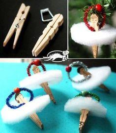 Clothes Pin Ballerina Ornament