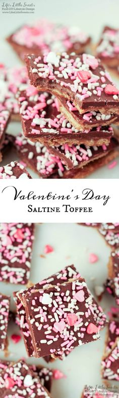 Valentine's Day Saltine Toffee is an easy to make, addictive, salty-sweet, candy snack. Make it for Valentine's Day gift giving for that special someone or for your next gathering!