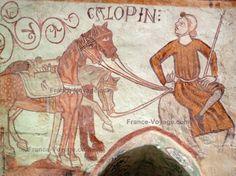 Gargilesse-Dampierre - Inside Notre-Dame Romanesque church: fresco in the Crypt Carolingian, Historical Art, European History, Romanesque, Old Books, Notre Dame, Equestrian, Medieval, Tourism