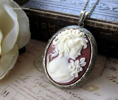 Large Cameo Lady Locket Necklace Vintage by gsakowskistudio, $26.00     Would make an awesome gift!!!